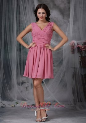Rose Pink Empire V-neck Mini-length Chiffon Ruch Prom Dress  Dama Dresses