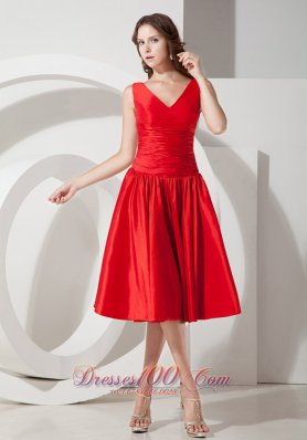 Sweet Red A-Line / Princess V-neck Evening Dress Tea-length Taffeta  Dama Dresses