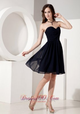 Customize Black Empire Sweetheart Little Navy Blue Dress Chiffon Ruched Mini-length  Dama Dresses
