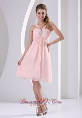 Baby Pink Straps V-neck Empire Knee-length Short Prom Dress With Beading Chiffon  Dama Dresses