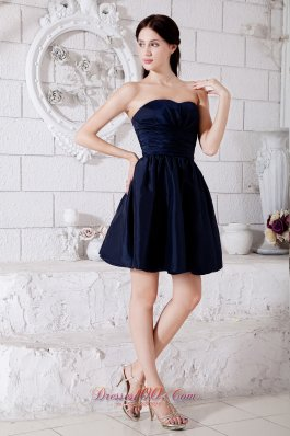 Navy Blue Junior Prom / Homecoming Dress Ruch Princess Strapless Mini-length Taffeta  Dama Dresses