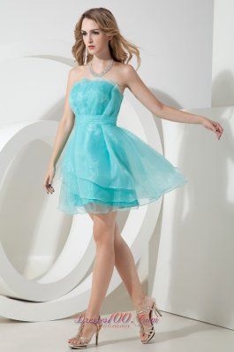 Light Blue A-line Strapless Cocktail Dress Ruch Mini-length Organza  Dama Dresses