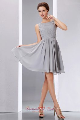 Pretty Grey Cocktail Dress A-line Scoop Knee-length Chiffon Ruch  Dama Dresses