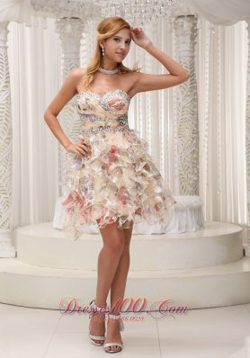 2013 Beaded Decorate Sweetheart Neckline and Waist Colorful Printing Mini-length Prom / Homecoming Dress For 2013