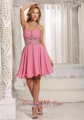 Cheap A-line Beaded Decorate Rose Pink Stylish Cocktail Dress With Mini-length in Summer