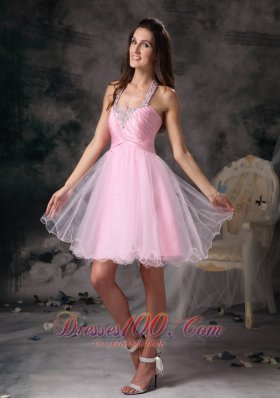 Customize Pink Column Straps Short Prom Dress with Beading Mini-length  Under 100