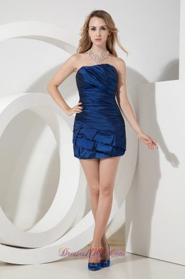 Blue Column / Sheath Strapless Cocktail Dres Ruch Mini-length Satin  Under 100