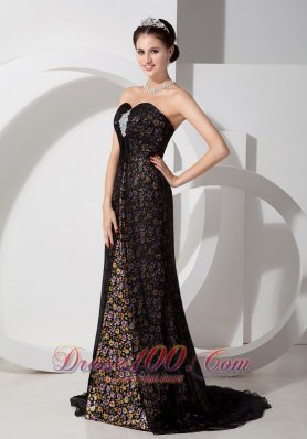2013 Beautiful Black Column Sweetheart Print Prom Dress Chifffon with Beading
