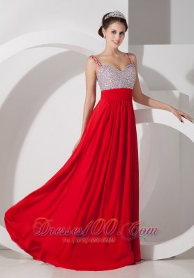 2013 Pretty Red Empire Straps Prom Dress Chiffon Beading and Ruch Floor-length