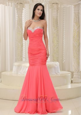 2013 Mermaid Sweetheart For Coral Red Prom Dress Beaded Decorate Bust