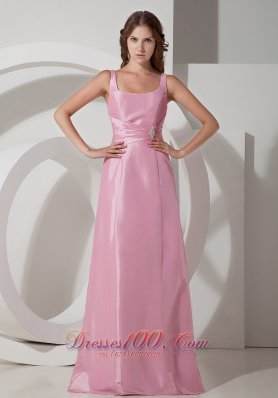 Discount Rose Pink Empire Square Neck Floor-length Taffeta Beading Prom Dress