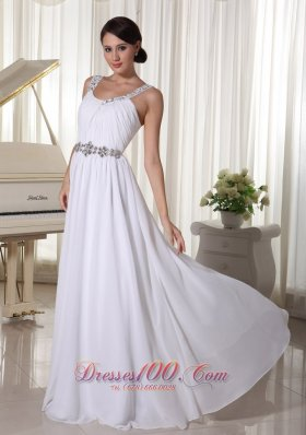 Formal Beaded Decorate Straps and Waist White Chiffon Empire Prom Dress For Foramal Evening