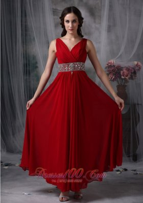 Formal Custom Made Red Empire V-neck Chiffon Prom / Evening Dress with Beading