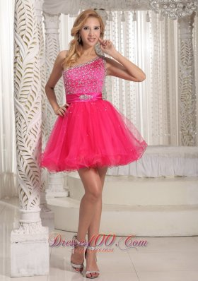 One Shoulder Beaded Decorate Bust Sweet Prom / Cocktail Dress With Hot Pink In Texas  Cocktail Dress