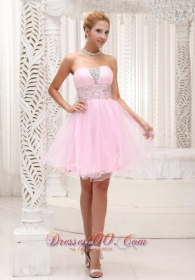 Beaded Up Bodice Lovely Baby Pink Prom / Cocktail Dress Strapless With Mini-length  Cocktail Dress