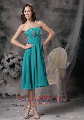 Beautiful Turquoise Empire Strapless Homecoming Dress Chiffon Beading Knee-length  Cocktail Dress