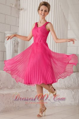 Hot Pink Empire Straps Tea-length Organza Pleat Prom / Homecoming Dress  Cocktail Dress