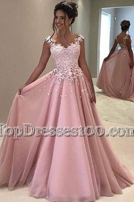 Low Price Pink V-neck Zipper Appliques Dress for Prom Sweep Train Sleeveless