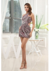 Leopard Prom Dress With One Shoulder Mini-length For Club