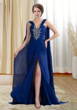 Chiffon Royal Blue Beaded and Ruched Prom Formal Dress with Watteau Train