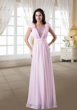 Discount Empire Scoop Beading Pink Prom Dress with Cap Sleeves