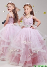 Lovely Straps Beaded and Ruffled Flower Girl Dress in Baby Pink