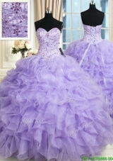 2017 Most Popular Organza Ruffled and Beaded Bodice Quinceanera Dress in Lavender