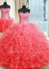 2017 New Arrivals Two for One Visible Boning Quinceanera Dress with Ruffles and Beaded Bodice