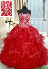 Classical Beaded Brush Train Red Quinceanera Dresses with Embroidery and Ruffles