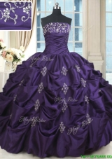 Discount Beaded and Bubble Strapless Purple Quinceanera Dress in Taffeta
