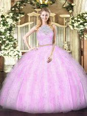 Vintage Lilac Two Pieces Lace and Ruffles Quinceanera Gown Zipper Tulle Sleeveless Floor Length