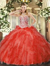 Coral Red Ball Gowns Tulle Sweetheart Sleeveless Beading and Ruffles Floor Length Side Zipper Sweet 16 Quinceanera Dress