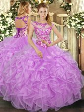 Lilac Cap Sleeves Floor Length Beading and Appliques and Ruffles Lace Up 15 Quinceanera Dress