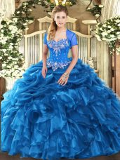 Extravagant Blue Lace Up Ball Gown Prom Dress Beading and Ruffles and Pick Ups Sleeveless Floor Length