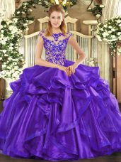 Purple Lace Up Scoop Beading and Ruffles Quinceanera Gowns Organza Cap Sleeves