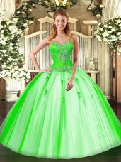 Fancy Tulle Lace Up Sweetheart Sleeveless Floor Length Quinceanera Gowns Beading