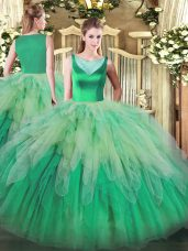 Affordable Multi-color Backless Scoop Beading and Ruffles Ball Gown Prom Dress Organza Sleeveless