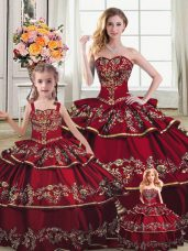 Dynamic Wine Red Sleeveless Satin and Organza Lace Up Sweet 16 Dress for Sweet 16 and Quinceanera