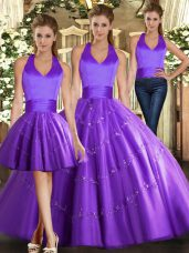 Tulle Sleeveless Floor Length Quince Ball Gowns and Beading