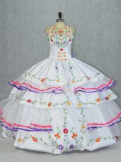 Cheap Organza and Taffeta Sleeveless Floor Length Quinceanera Gowns and Embroidery and Ruffled Layers