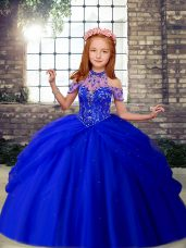 Floor Length Lace Up Kids Pageant Dress Royal Blue for Party and Wedding Party with Beading