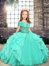 Excellent Straps Sleeveless Child Pageant Dress Floor Length Beading Apple Green Organza