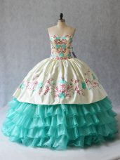 Beauteous Sleeveless Lace Up Floor Length Embroidery and Ruffled Layers Ball Gown Prom Dress
