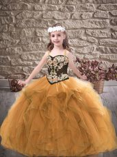 Low Price Floor Length Gold Child Pageant Dress Tulle Sleeveless Embroidery and Ruffles