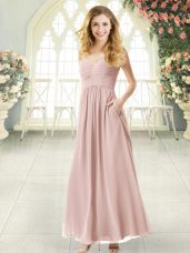 Customized Pink Criss Cross Dress for Prom Ruching Sleeveless Ankle Length