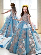 Satin Sleeveless Little Girl Pageant Dress Court Train and Appliques