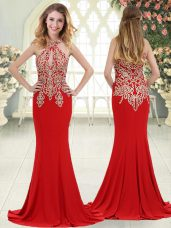 Perfect Red Halter Top Neckline Beading and Lace Homecoming Dress Sleeveless Zipper