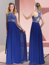 Sweet Blue Empire High-neck Sleeveless Satin Sweep Train Criss Cross Beading and Lace Custom Made