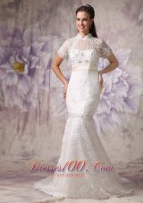 Cheap Mermaid High Neck Lace Wedding Dress Beading Court Train