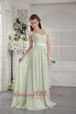 2013 Apple Green Empire Off The Shoulder Brush Train Chiffon Ruch Bridesmaid Dress